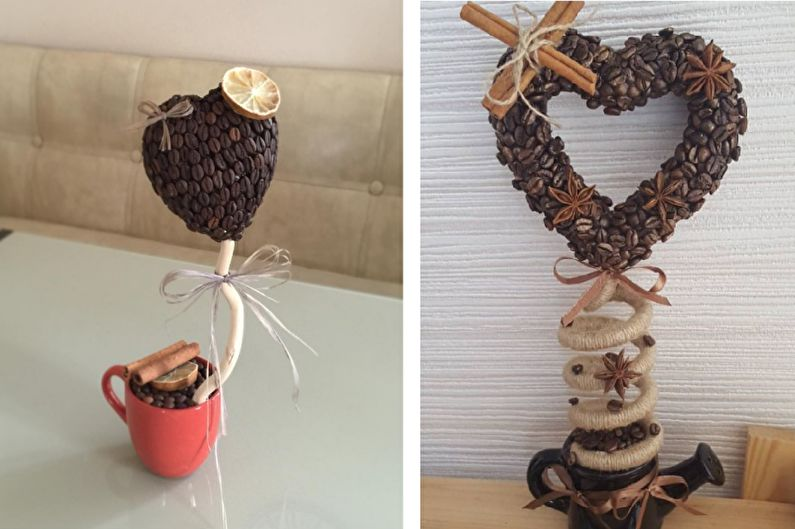 Идеи для топиария из кофе - Валентинка
